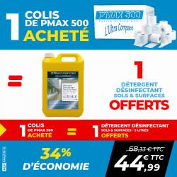PACK 1 COLIS PAPIER TOILETTE P'MAX 500 + 1 DÉTERGENT DÉSINFECTANT SOLS ET SURFACES