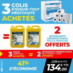 PACK 3 COLIS ESSUIE-TOUT MEDI'OUATE + 2 DÉTERGENTS DÉSINFECTANTS SOLS ET SURFACES