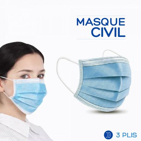 MASQUE CIVIL 3 PLIS A ÉLASTIQUE – BOITE DE 50