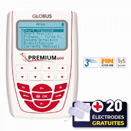 PACK ELECTROSTIMULATEUR PREMIUM 400 GLOBUS + 20 ÉLECTRODES OFFERTES