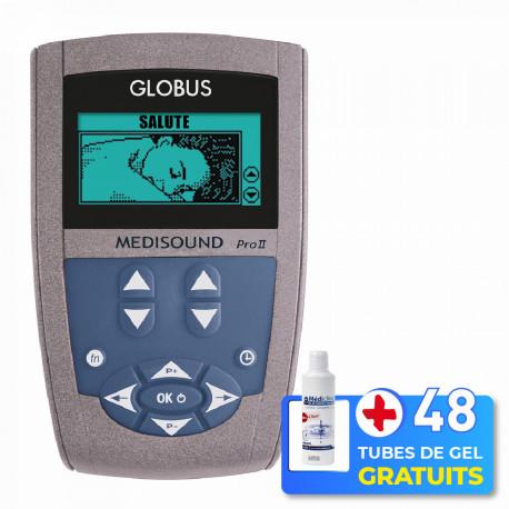 PACK ELECTROSTIMULATEUR MEDISOUND PRO 2 ® + 48 TUBES DE GEL + 2 COMPRESES GRATUITES