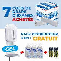 7 COLIS DE DRAPS D'EXAMEN + PACK DISTRIBUTEUR ELECTRONIQUE SANS CONTACT 3 EN 1