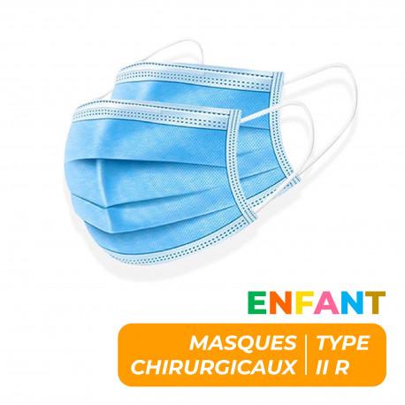 MASQUES CHIRURGICAUX 3 PLIS TYPE IIR ENFANTS - BOITE DE 10