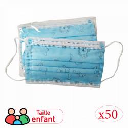 MASQUE 3 PLIS ENFANT MOTIFS BLEU (50)