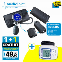 PACK TENSIOMÈTRE MULTIBRASSARDS MEDICLINIC + STÉTHOSCOPE MÉDICLINIC