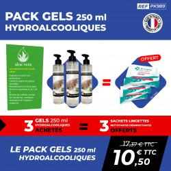 PACK 3 GELS HYDROALCOOLIQUES 250 ML + 3 SACHETS A+CURE
