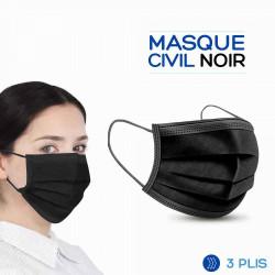 MASQUE CIVIL NOIR 3 PLIS – BOITE DE 50