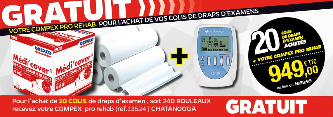 PACK 20 COLIS DE DRAPS D'EXAMEN MÉDI'COVER + 1 COMPEX PRO - REHAB