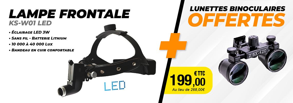 PACK LAMPE FRONTALE KS-W01 LED + LUNETTE BINOCULAIRE GRATUITE