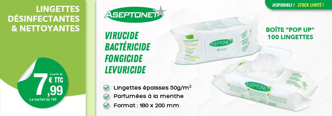 LINGETTES BACTERICIDES ASEPTONET