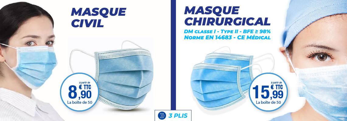 MASQUE CHIRURGICAL 3 PLIS