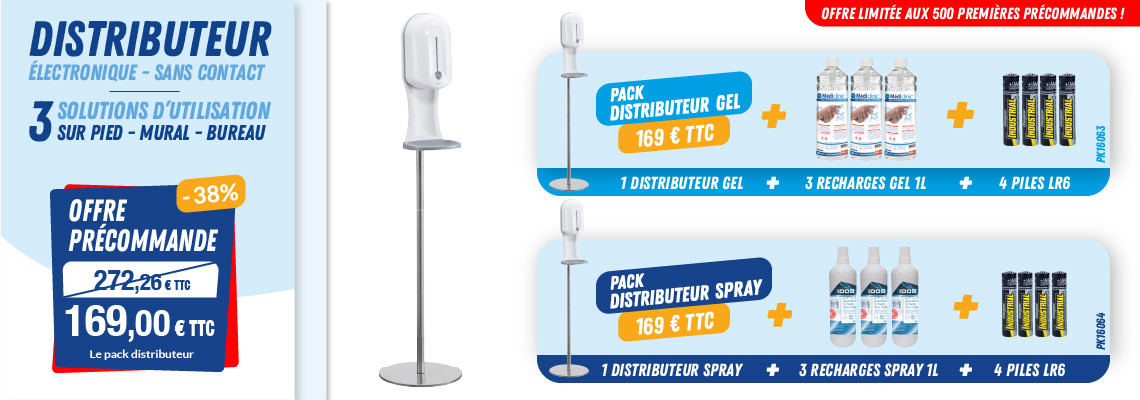 PACK DISTRIBUTEURS 3 SOLUTIONS - GEL & SPRAY