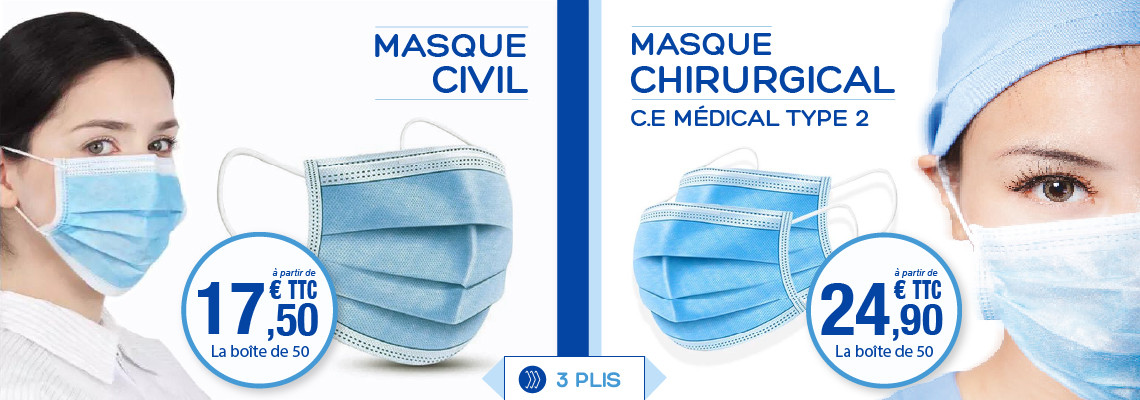 MASQUE CHIRURGICAL 3 PLIS